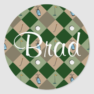 The Golfer Pattern Name Sticker Brad