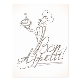 The Good Chef says Bon Appetit! Postcard