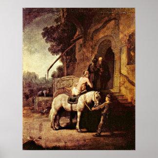 The Good Samaritan by Rembrandt van Rijn Poster