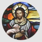 The Good Shepherd; Jesus on stained glass Classic Round Sticker