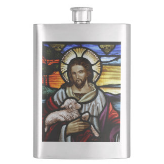 The Good Shepherd; Jesus on stained glass Flask
