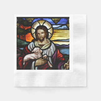 The Good Shepherd; Jesus on stained glass Paper Napkin