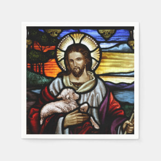 The Good Shepherd; Jesus on stained glass Paper Napkins