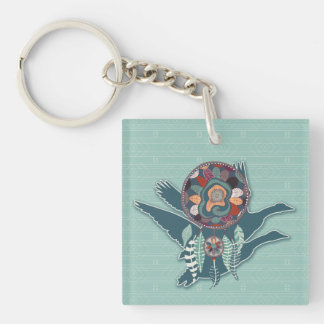 the Goose Animal Guide in Teal Green Keychain