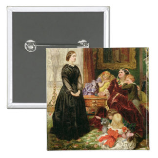 The Governess, 1860 (oil on canvas) 2 Inch Square Button