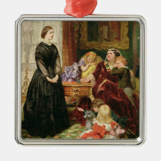 The Governess, 1860 (oil on canvas) Silver-Colored Square Ornament