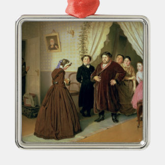 The Governess Arriving at the Merchant's House Silver-Colored Square Ornament