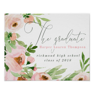 THE GRADUATE BLUSH WATERCOLOR FLORAL POSTER