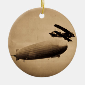 The Graf Zeppelin Approaching New York City 1928 Round Ceramic Ornament