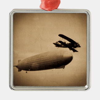The Graf Zeppelin Approaching New York City 1928 Silver-Colored Square Ornament