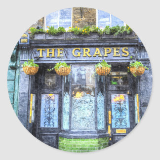 The Grapes Pub London Art Round Sticker