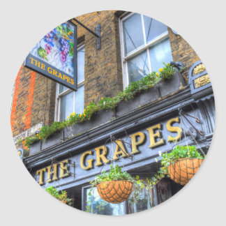 The Grapes Pub London Round Sticker