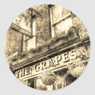 The Grapes Pub London Vintage Round Sticker