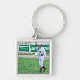 The Grass is Greener Silver-Colored Square Keychain