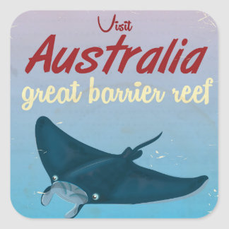 The Great Barrier Reef, Australia Travel poster Square Sticker
