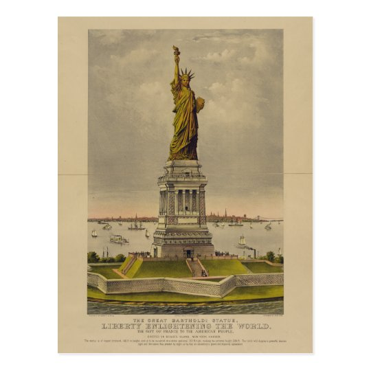 The Great Bartholdi Statue by Ives 1885 Postcard