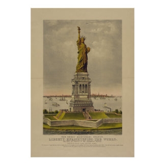 The Great Bartholdi Statue by Ives 1885 Poster