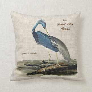 The Great Blue Heron - Cotton Throw Pillow