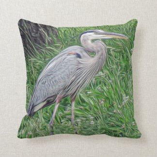 The Great Blue Heron Photographic Art Throw Pillow