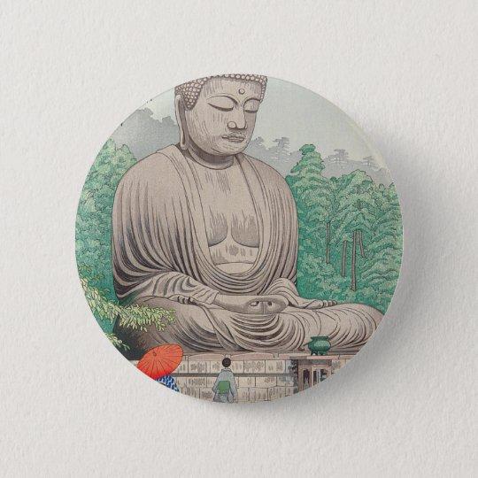 The Great Buddha at Kamakura FUJISHIMA TAKEJI 2 Inch Round Button