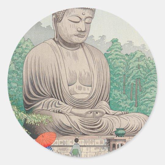 The Great Buddha at Kamakura FUJISHIMA TAKEJI Classic Round Sticker