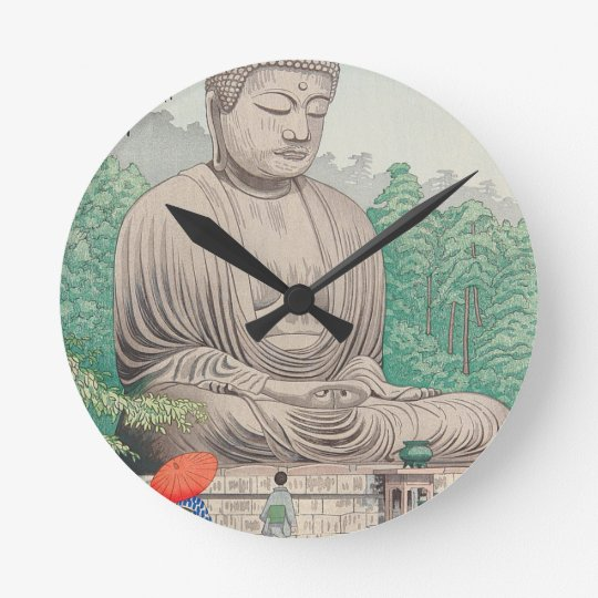 The Great Buddha at Kamakura FUJISHIMA TAKEJI Round Clock