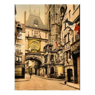 The great clock, Rouen, France vintage Photochrom Postcard