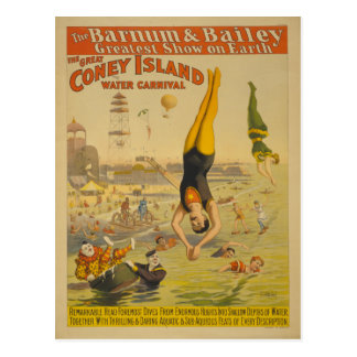 The Great Coney Island Water Carnival Poster Postcard