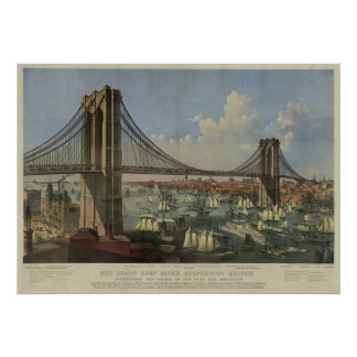 The Great East River Suspension Bridge Poster