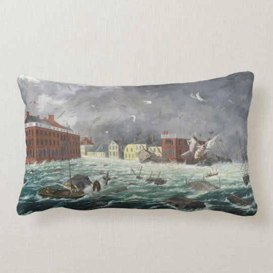 The Great Gale aka Hurricane of 1815 Providence Lumbar Pillow