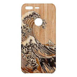 The Great Hokusai Wave Bamboo Wood Inlay Style on Uncommon Google Pixel Case