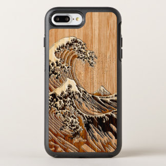 The Great Hokusai Wave Bamboo Wood Inlay Style OtterBox Symmetry iPhone 8 Plus/7 Plus Case