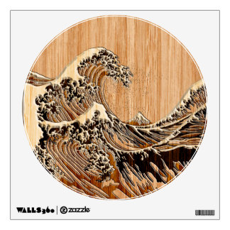 The Great Hokusai Wave Bamboo Wood Style Accent Wall Decal