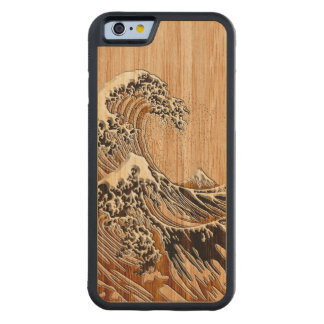 The Great Hokusai Wave Bamboo Wood Style Maple iPhone 6 Bumper Case