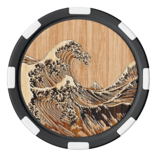 The Great Hokusai Wave Bamboo Wood Style Set Of Poker Chips