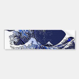 The Great Hokusai Wave Carbon Fiber Style Bumper Sticker