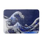 The Great Hokusai Wave chrome carbon fibre styles Bath Mat