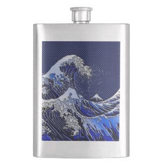 The Great Hokusai Wave Chrome Carbon Looks Flasks