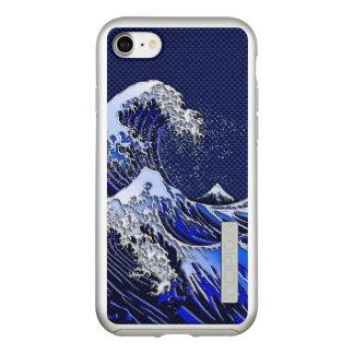The Great Hokusai Wave Chrome Carbon Style Incipio DualPro Shine iPhone 8/7 Case