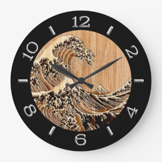 The Great Hokusai Wave in Bamboo Style Dial on a Wall Clocks