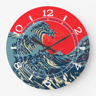The Great Hokusai Wave in Pop Art Style Dial on a Wall Clocks