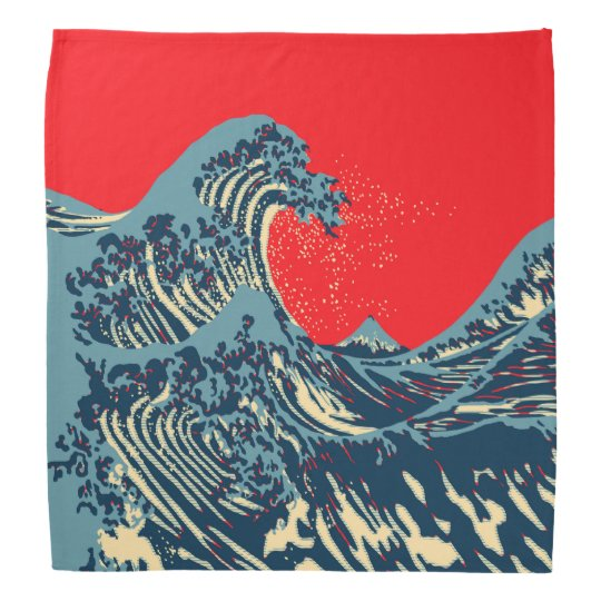 The Great Hokusai Wave in Vibrant Style Head Kerchief