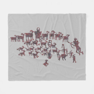 The Great Hunt Petroglyph Panel Fleece Blanket