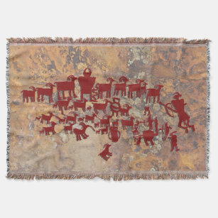 The Great Hunt Petroglyph Panel Throw Blanket