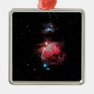The Great Nebula in Orion Silver-Colored Square Ornament