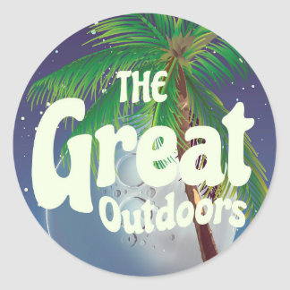The Great Outdoors Palm and Moon Classic Round Sticker