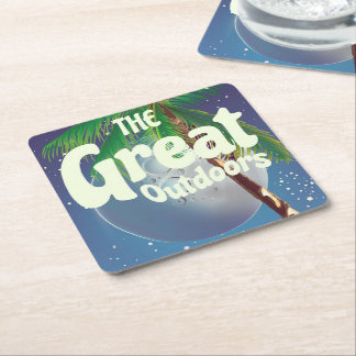 The Great Outdoors Palm and Moon Square Paper Coaster