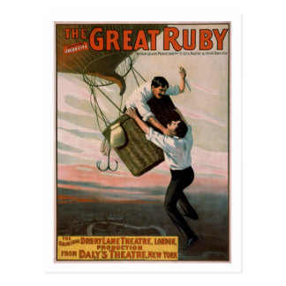 """""""The Great Ruby"""" Vintage Theatre Poster Postcard"""
