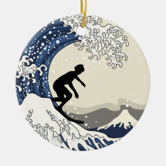 The Great Surfer of Kanagawa Ceramic Ornament