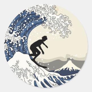 The Great Surfer of Kanagawa Classic Round Sticker